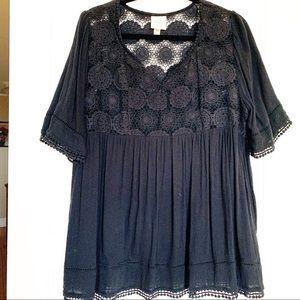 Knox Rose Black Lace Blouse size xxl